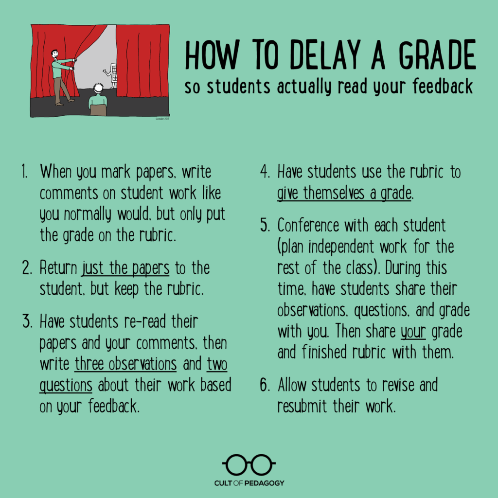 Read my essay delaying the grade how to get students to feedback